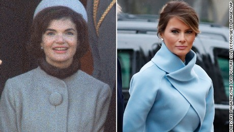 Her Look Drew Comparisons To The Outfit Jackie Kennedy Wore Husband S Inauguration In 1961 Ralph Lauren