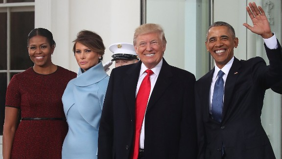 The Obamas welcome the Trumps to the White House as they arrive for inauguration festivities.