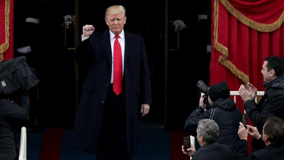 President Elect Donald Trump arrives on the West Front of the U.S. Capitol on January 20, 2017 in Washington, DC. In today