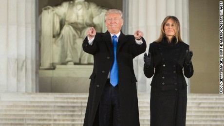 Donald Trump and wife Melania arrive for the inaugural concert at the Lincoln Memorial in Washington.