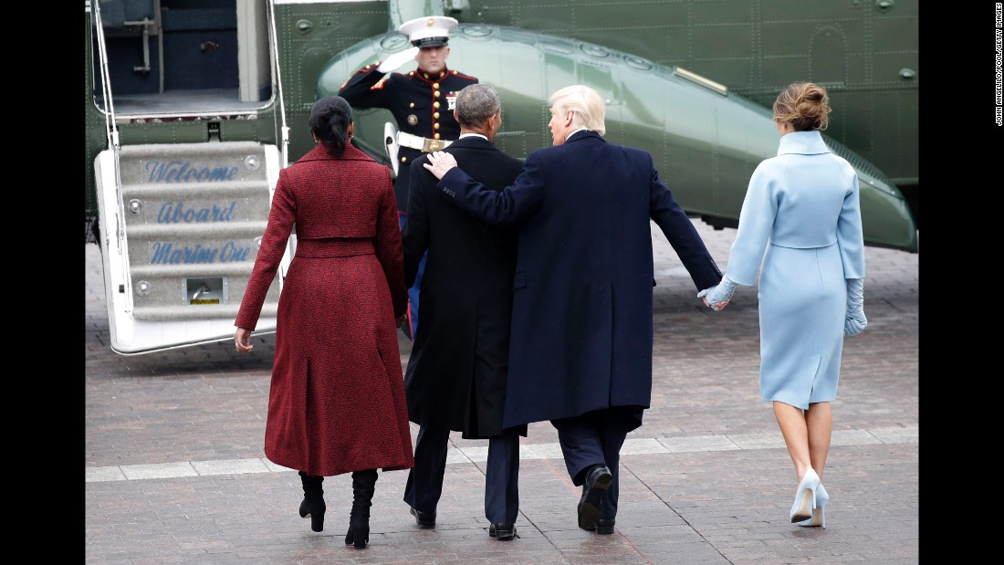 The Obamas and Trumps walk to Marine One after Donald Trump was sworn in as President.