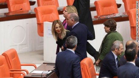 Opposition lawmaker Aylin Nazliaka was escorted out of parliament following the fight.