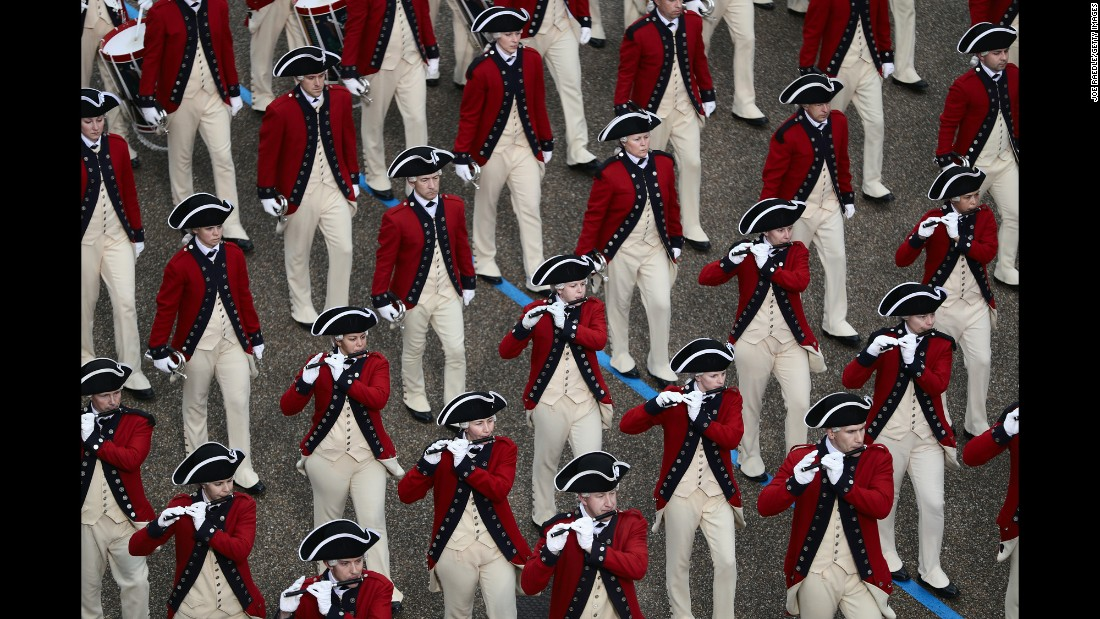 The U.S. Army Old Guard Fife and Drum Corps marches in the Presidential Inaugural Parade on Friday, January 20, in Washington.