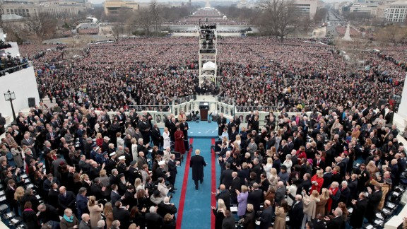 Donald Trump arrives on the West Front of the Capitol prior to being sworn-in as president on Friday, January 20.