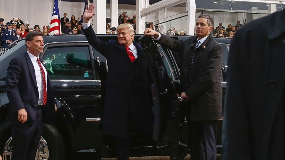 President Donald Trump steps out of his limousine in front of the Presidential Inaugural Parade reviewing stand on Pennsylvania Avenue on Friday, January 20.