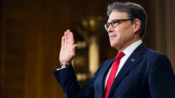 Rick Perry, President Trump's nominee for secretary of energy, is sworn in before his confirmation hearing in on Thursday, January 19. Perry, who once felt the Department of Energy should be shut down, said at the hearing that he regrets calling for the agency's elimination.