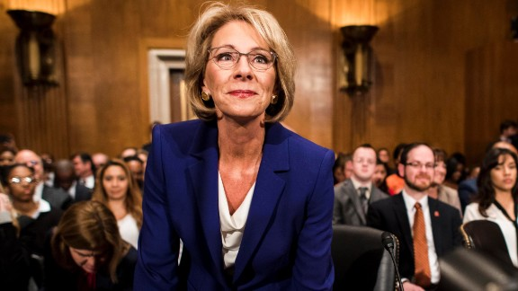 Betsy DeVos, President Donald Trump's pick to lead the Education Department, attends her confirmation hearing on Tuesday, January 17. DeVos, who has spent millions to advance conservative causes in her home state of Michigan and across the country, was questioned by Democratic senators who believe she is not qualified to lead the nation's education system.