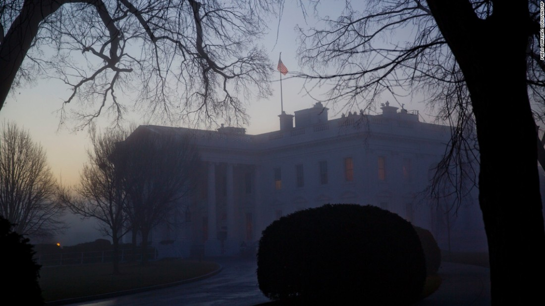 The White House is seen through morning fog on Wednesday, January 18.