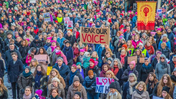 Demonstrators gather in Oslo, Norway, on Saturday, January 21, to show solidarity with the Women