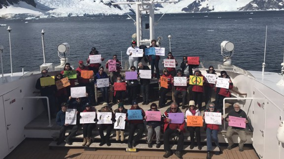 Supporters in the Antarctic Peninsula take part in a women