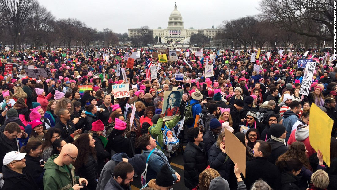 Protesters gather on the National Mall near the US Capitol.