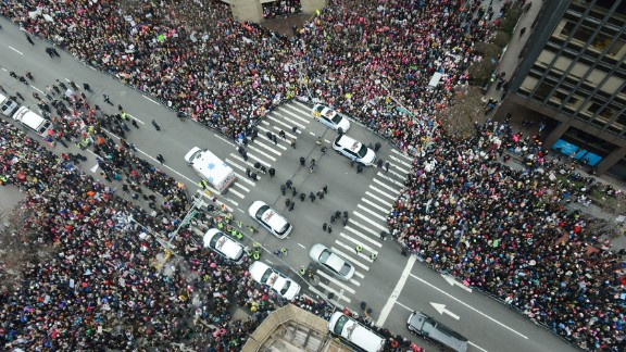 Participants assemble on Dag Hammarskjold Plaza and 2nd Avenue during the Women