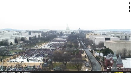 A screengrab of EarthCam's live feed of the National Mall during Trump's inauguration ceremony.