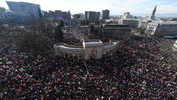 Activists gather in Civic Center Park for the Women