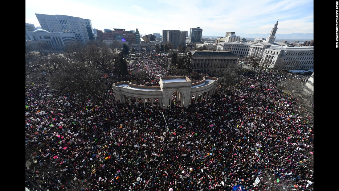 Activists gather in Civic Center Park for the Women's March on Denver on Saturday, January 21.