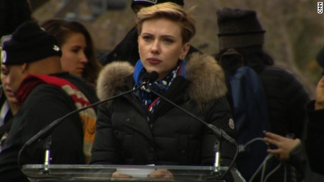 Scarlett Johansson speaks at the Women's March on Washington