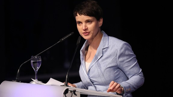 Frauke Petry, leader of the Alternative for Germany party, speaks at the  European right-wing party conference.