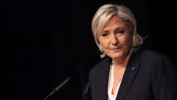 Marine Le Pen, leader of France's National Front Party, speaks at a conference of European right-wing parties on January 21.