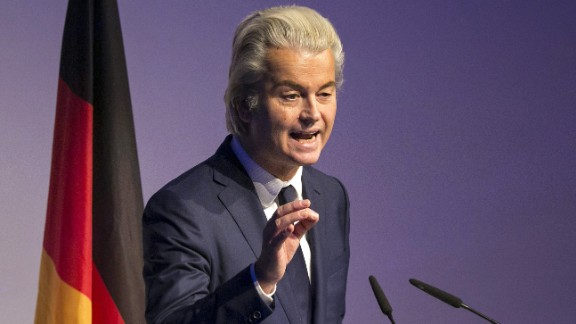 Geert Wilders, leader of the Dutch Freedom Party, gestures as he speaks during a Europe of Nations and Freedom meeting in Koblenz, Germany, on Saturday, January 21, 2017.