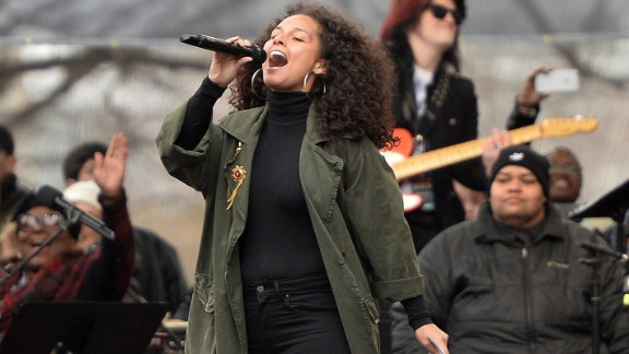 Singer Alicia Keys performs on the National Mall in Washington, DC, for the Women's March on January 21, 2017.