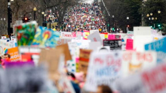 Protesters stream onto Independence Avenue at the Women's March on Washington during the first full day of Donald Trump's presidency, Saturday, January 21,  in Washington DC.