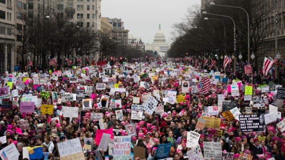 A large crowd walks down Pennsylvania Avenue, three and a half hours after the start of the Women's March on Washington in Washington, D.C., on January 21, 2017. Credit: Mark Kauzlarich for CNN