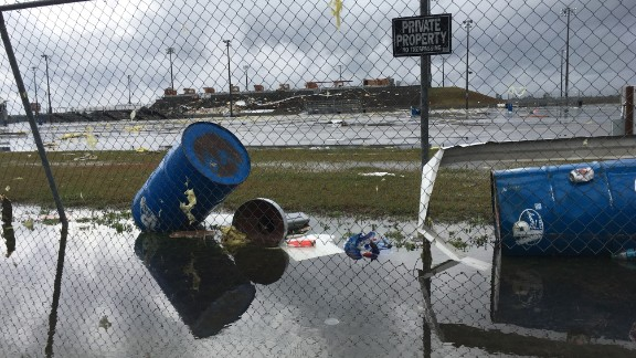 Storm damage remains at South Georgia Motorsports Park in Cecil, Georgia, on January 22.