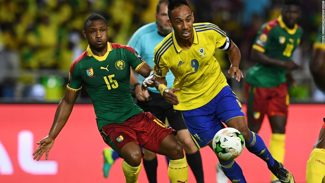 Gabon's star forward Pierre-Emerick Aubameyang was left frustrated by an astonishing early miss in front of the Cameroon goal.