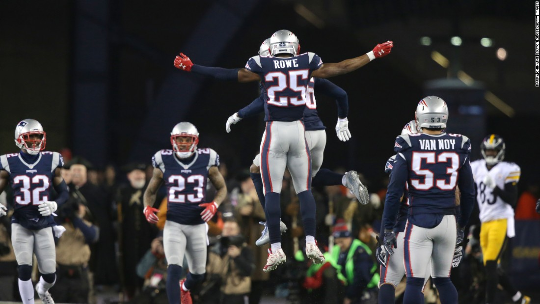 Patriots defensive back Eric Rowe celebrates with Logan Ryan after Ryan broke up a pass in the fourth quarter.