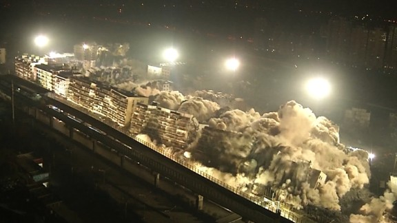 Buildings collapse in China
