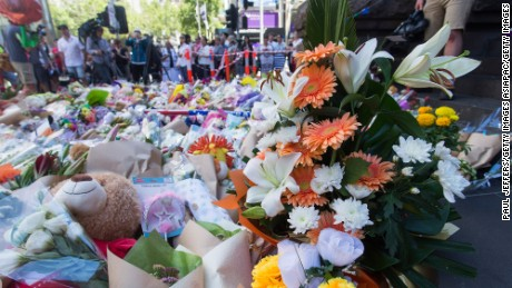 Hundreds of flowers have been laid for those killed after a driver crashed his car into a crowd in downtown Melbourne.
