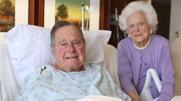 """""""President and Mrs @GeorgeHWBush thank their fellow Americans and friends from around the world for heir prayers and good wishes,"""" tweeted Jim McGrath, the post-White House spokesman for the Bushes, after the former President was hospitalized in January 2017."""
