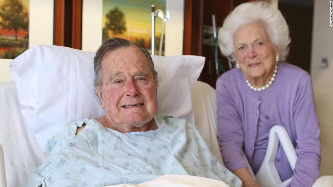 """President and Mrs @GeorgeHWBush thank their fellow Americans and friends from around the world for heir prayers and good wishes,"" tweeted Jim McGrath, the post-White House spokesman for the Bushes, after the former President was hospitalized in January 2017."