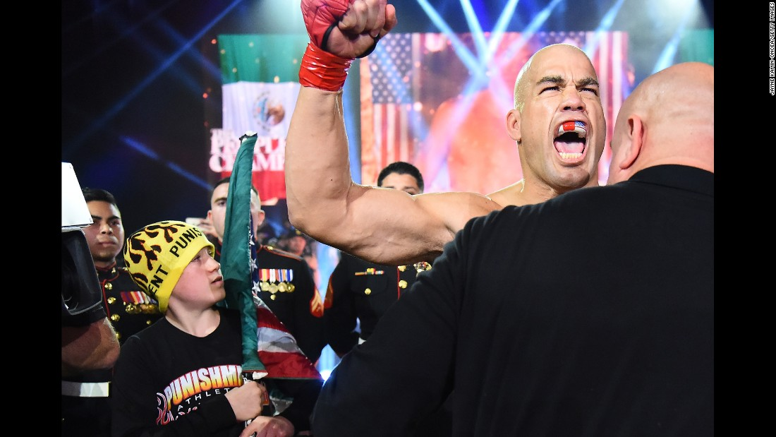 MMA legend Tito Ortiz prepares to enter the cage for his Bellator bout against Chael Sonnen on Saturday, January 21. Ortiz won by first-round submission and said it would be his final fight.