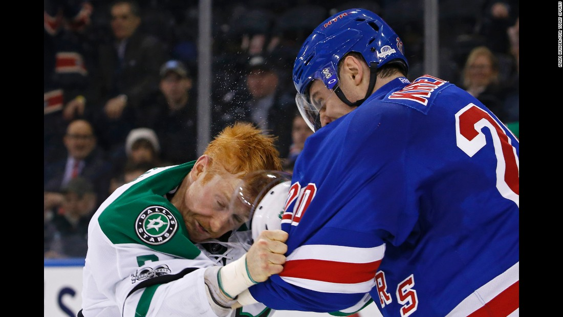 "Dallas' Cody Eakin, left, fights Chris Kreider of the New York Rangers during an NHL hockey game in New York on Tuesday, January 17. Kreider <a href=""http://www.espn.com/nhl/story/_/id/18502009/new-york-rangers-chris-kreider-fined-5k-hitting-cody-eakin-helmet"" target=""_blank"">was later fined $5,000</a> for ripping off Eakin's helmet and beating him in the head with it. Earlier this season, Eakin had run into Rangers goalie Henrik Lundqvist, earning a four-game suspension."