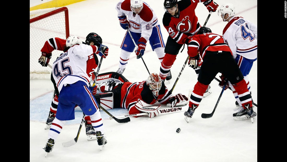 New Jersey goalie Keith Kinkaid eyes the puck during a home game against Montreal on Friday, January 20.