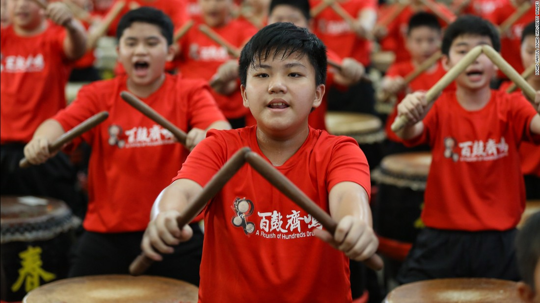 Young drummers perform in Kuala Lumpur on Saturday, January 14.