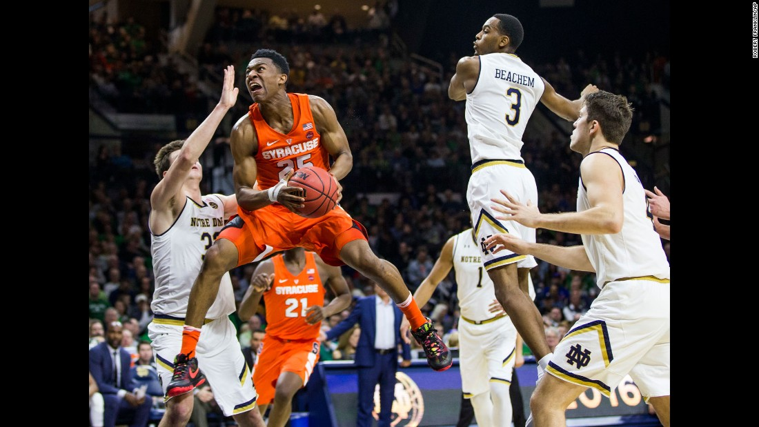 Syracuse's Tyus Battle goes up for a layup during a college basketball game at Notre Dame on Saturday, January 21.