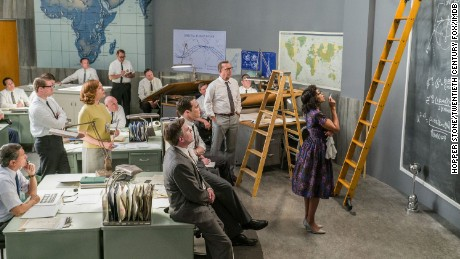 Kevin Costner and Taraji P. Henson in Hidden Figures (2016)  Titles: Hidden Figures People: Kevin Costner, Taraji P. Henson Characters: Al Harrison Photo by Photo Credit: Hopper Stone/Hopper Stone, SMPSP - © TM & © 2017 Twentieth Century Fox Film Corporation. All Rights Reserved. Not for sale or duplication.