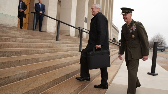 U.S. Secretary of Defense James Mattis is greeted and escorted by Chairman of the Joint Chiefs of Staff General Joseph Dunford  as he arrives for the first day January 21, 2017 at the Pentagon (Photo by Alex Wong/Getty Images)