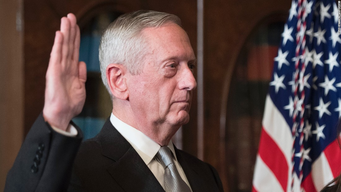"Retired Marine Gen. James Mattis, President Trump's pick for defense secretary, is sworn in <a href=""http://www.cnn.com/2017/01/20/politics/senate-trump-cabinet-confirmations/"" target=""_blank"">after being confirmed by a 98-1 vote</a> on Friday, January 20."