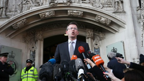 Attorney General Jeremy Wright making a statement outside the Supreme Court.