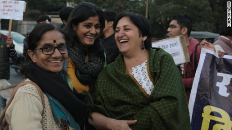 Ankita Luharia with fellow protesters at the march in Jaipur.