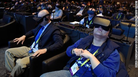 LAS VEGAS, NV - JANUARY 04:  Attendees participate in a virtual reality presentation during an Intel press event for CES 2017 at the Mandalay Bay Convention Center on January 4, 2017 in Las Vegas, Nevada. CES, the world's largest annual consumer technology trade show, runs from January 5-8 and is expected to feature 3,800 exhibitors showing off their latest products and services to more than 165,000 attendees.  (Photo by David Becker/Getty Images)