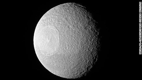 Tethys, one of Saturn's larger icy moons.