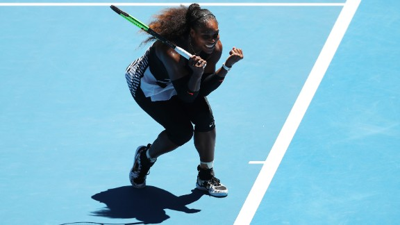 Serena Williams, aged 35, reached her 10th consecutive grand slam semifinal by beating Britain's Johanna Konta 6-2 6-3.