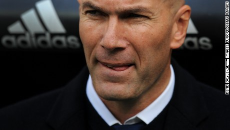 MADRID, SPAIN - JANUARY 21:  Real Madrid manager Zinedine Zidane looks on before the start of the La Liga match between Real Madrid CF and Malaga CF at the Bernabeu on January 21, 2017 in Madrid, Spain.  (Photo by Denis Doyle/Getty Images)