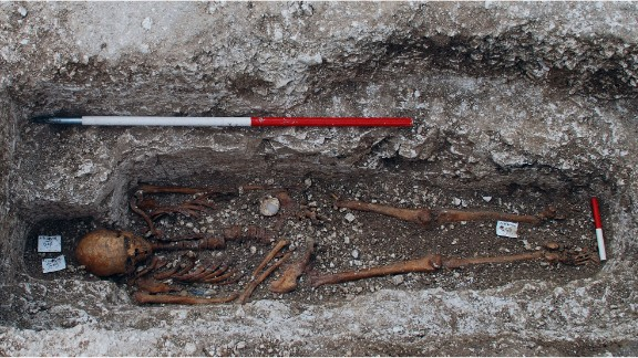 The burial site of a skeleton known as Sk27, a Medieval pilgrim, shows he was buried with a scallop shell.
