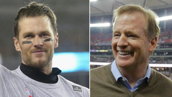After a long Deflategate legal battle, Tom Brady (left) served his four-game suspension that was imposed by Roger Goodell (right) at the start of this season.