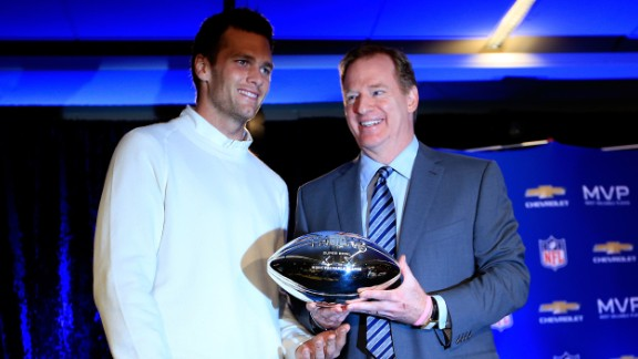 Brady with Goodell and the Super Bowl XLIX MVP trophy during a press conference folowing the New England Patriots Super Bowl win over the Seattle Seahawks on February 2, 2015.